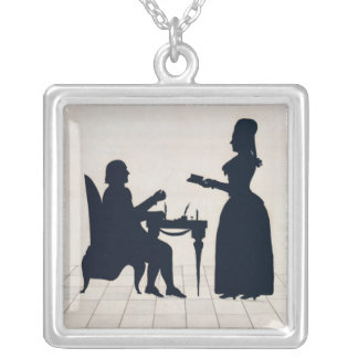 Silhouettes of Monsieur and Madame Roland Silver Plated Necklace