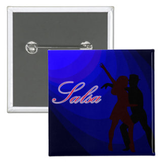 Silhouettes of Salsa dancers with blue background 15 Cm Square Badge