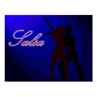 Silhouettes of Salsa dancers with blue background Postcard