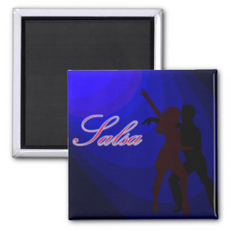 Silhouettes of Salsa dancers with blue background Square Magnet