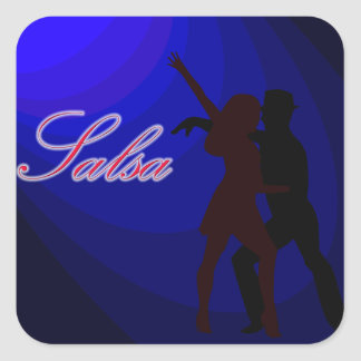 Silhouettes of Salsa dancers with blue background Square Sticker