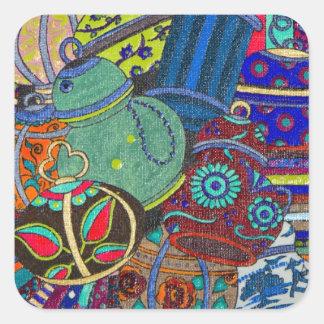 Silk and Pots Square Sticker