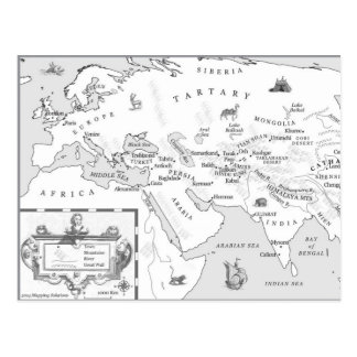 Silk and Song map postcard
