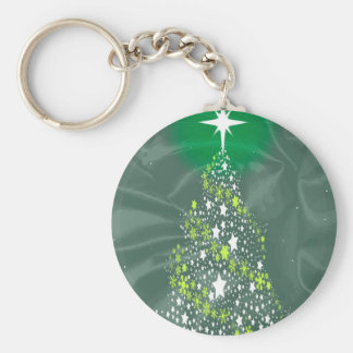 Silk Christmas Tree Basic Round Button Key Ring
