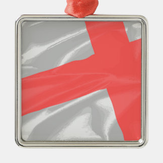 Silk Flag of Saint George Silver-Colored Square Decoration