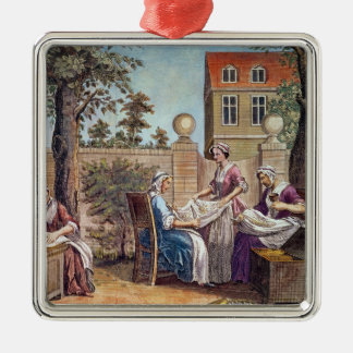 Silk-Making, engraved by J. Hinton Christmas Ornament