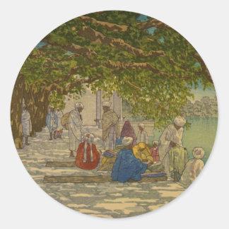 Silk merchants, India 1920 Round Sticker