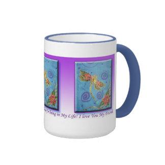 Silk Painted Dragonfly Gratitude Mug by Cyn Mc