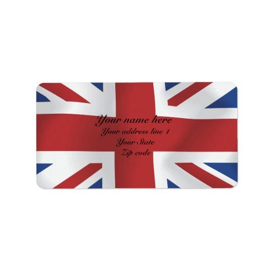 Silk style Union Jack British Flag Label