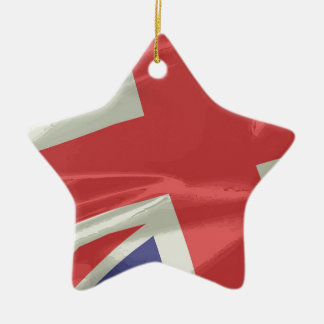 Silk Union Jack Flag Closeup Ceramic Star Decoration
