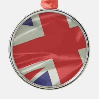 Silk Union Jack Flag Closeup Silver-Colored Round Decoration