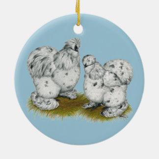 Silkie Bantam Splash Chickens Christmas Ornament