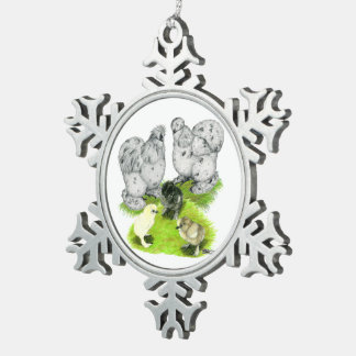 Silkie Bantam Splash Family Snowflake Pewter Christmas Ornament