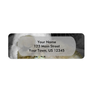 Silkie Hens with Chicks Peeking out of Feathers Return Address Label