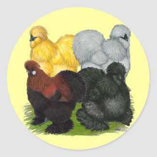 Silkies:  Assorted Roosters Round Stickers