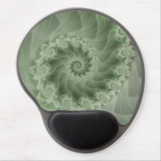 Silky Green Spiral Fractal Gel Mousepad