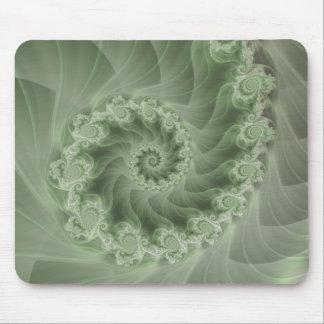 Silky Green Spiral Fractal Mousepad
