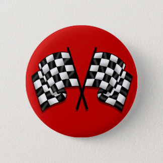 Silky looking Motorsport chequered flag gear 6 Cm Round Badge