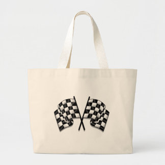 Silky looking Motorsport chequered flag gear Large Tote Bag