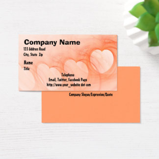 Silky Orange Abstract Heart Line Business Card