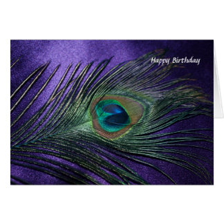 Silky Purple Peacock Feather Card