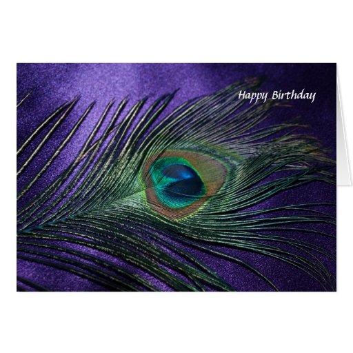 Silky Purple Peacock Feather Card