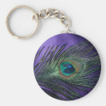 Silky Purple Peacock Feather Basic Round Button Key Ring