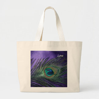 Silky Purple Peacock Feather Large Tote Bag
