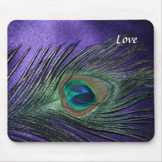 Silky Purple Peacock Feather Mouse Mat