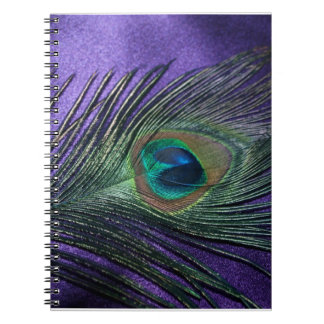 Silky Purple Peacock Feather Notebooks