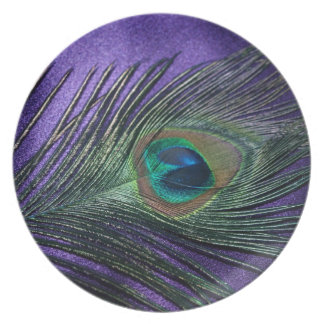 Silky Purple Peacock Feather Plate