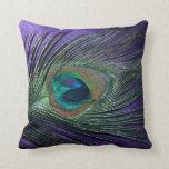 Silky Purple Peacock Feather Still Life Throw Pillow