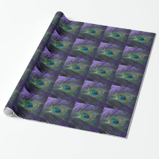 Silky Purple Peacock Feather Wrapping Paper