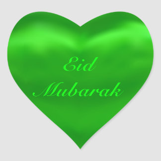 Silky Satin Green Eid Mubarak Heart Sticker