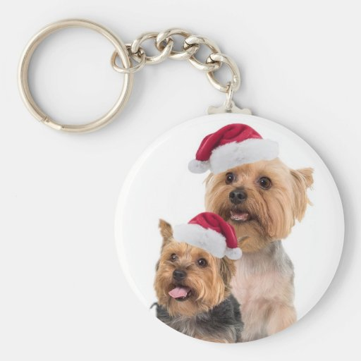 Silky Terrier Christmas Wishes Basic Round Button Key Ring