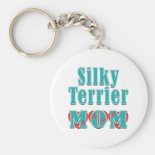 Silky Terrier Mom Hearts Keychains