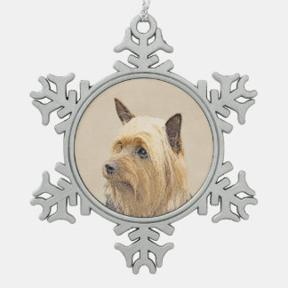 Silky Terrier Painting - Cute Original Dog Art Snowflake Pewter Christmas Ornament