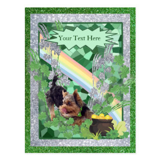 Silky Terrier Puppy St Pattys Day Customize It Postcard