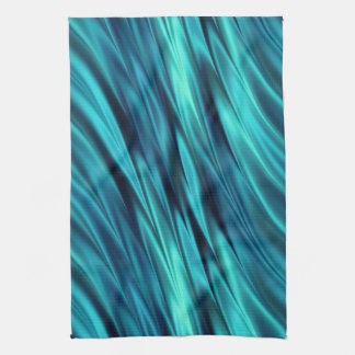 Silky waves in aqua blue tea towel