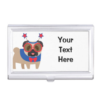 Silly 4th of July Pug Case For Business Cards