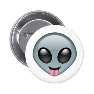 Silly Alien Emoji 6 Cm Round Badge