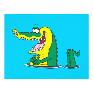 silly alligator crocodile cartoon character personalized flyer