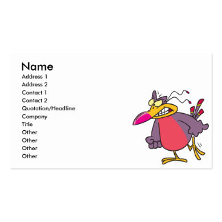 silly angry mad bird cartoon character pack of standard business cards