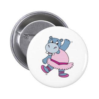 silly ballerina hippo 6 cm round badge