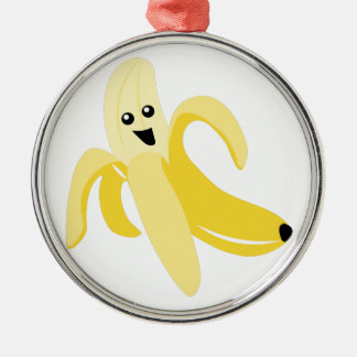 Silly Banana Silver-Colored Round Decoration