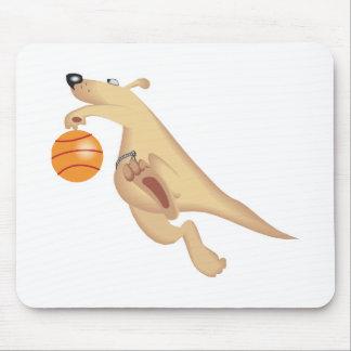 silly basketball playing kangaroo mouse mat