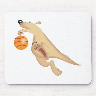 silly basketball playing kangaroo mouse pad