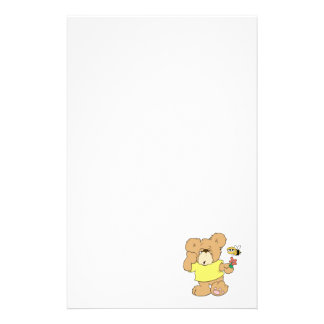 SIlly Bear With Flower and Bee Stationery