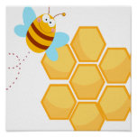 silly bee and beehive honey comb poster