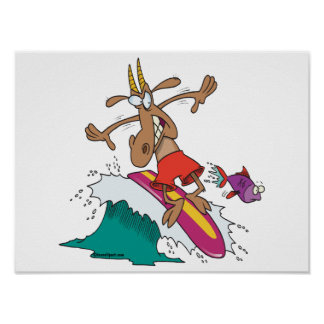 silly billy goat surfing surfer cartoon posters